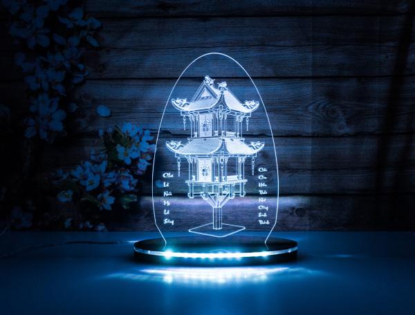 Đèn Led 3D-Chùa Một Cột