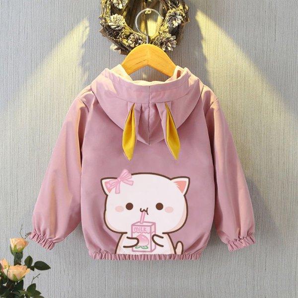 Giá bán 💖 quần áo bé gái 💖 áo khoác lót bông 2 lớp cho bé gái hình MÈO HELLO KITTY ngộ nghĩnh - size từ 7-32 kg