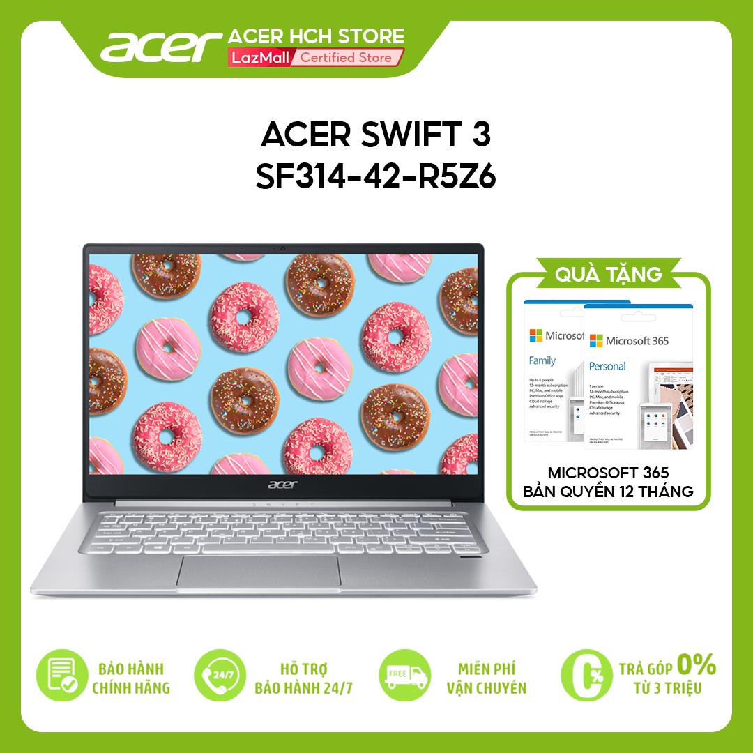 [VOUCHER 10% từ 27-29.03] Laptop Acer Swift 3 SF314-42-R5Z6 R5-4500U   8GB   512GB   AMD Radeon Graphics   14'' FHD   Win 10 + Office)