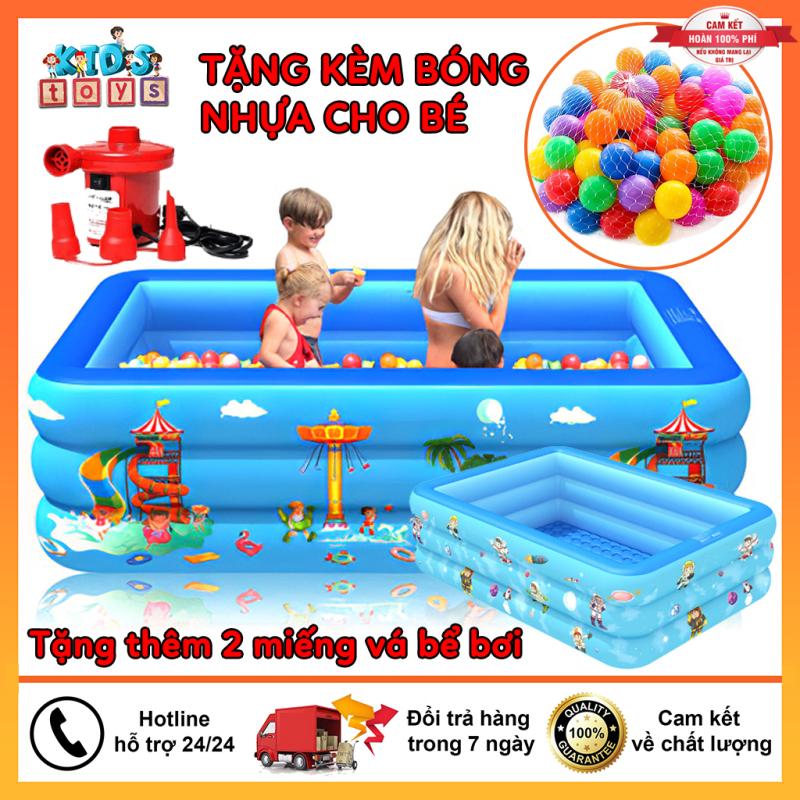 Phao bơi cho bé 3 tầng kích thước 1M2 ( 120x85xCao50Cm ) cho bé, hàng loại 1 có đáy chống trơn trượt, an toàn khi sử dụng tặng kèm miếng vá bể