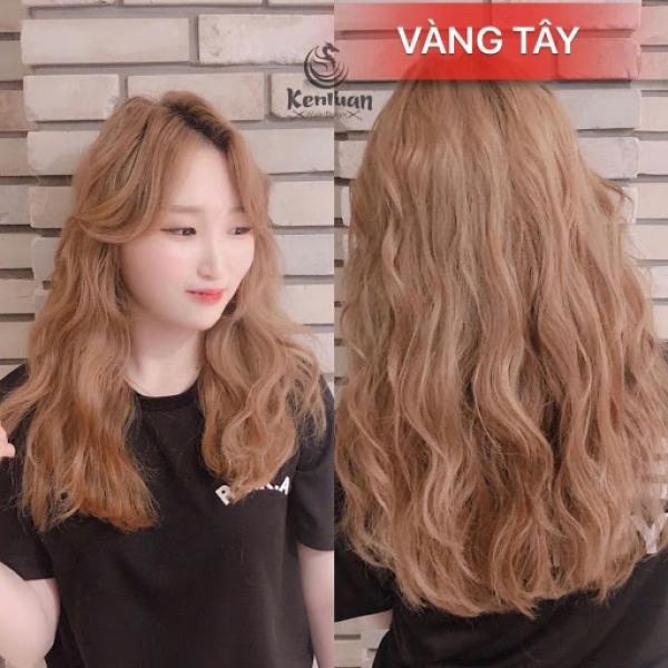 Tự nhuộm tóc màu Vàng tây tại nhà, hàng nội địa Việt Nam, không gây hư tổn cho tóc (Trọn bộ tặng gang tay, trợ nhuộm)