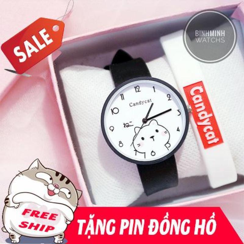 Nơi bán Đồng hồ nữ, đồng hồ dây cao su, đồng hồ thời trang nữ Candycat dây cao su bền, nhiều màu, hình mèo mập Ami dễ thương, chịu nước sinh hoạt (tặng kèm pin) - halystore