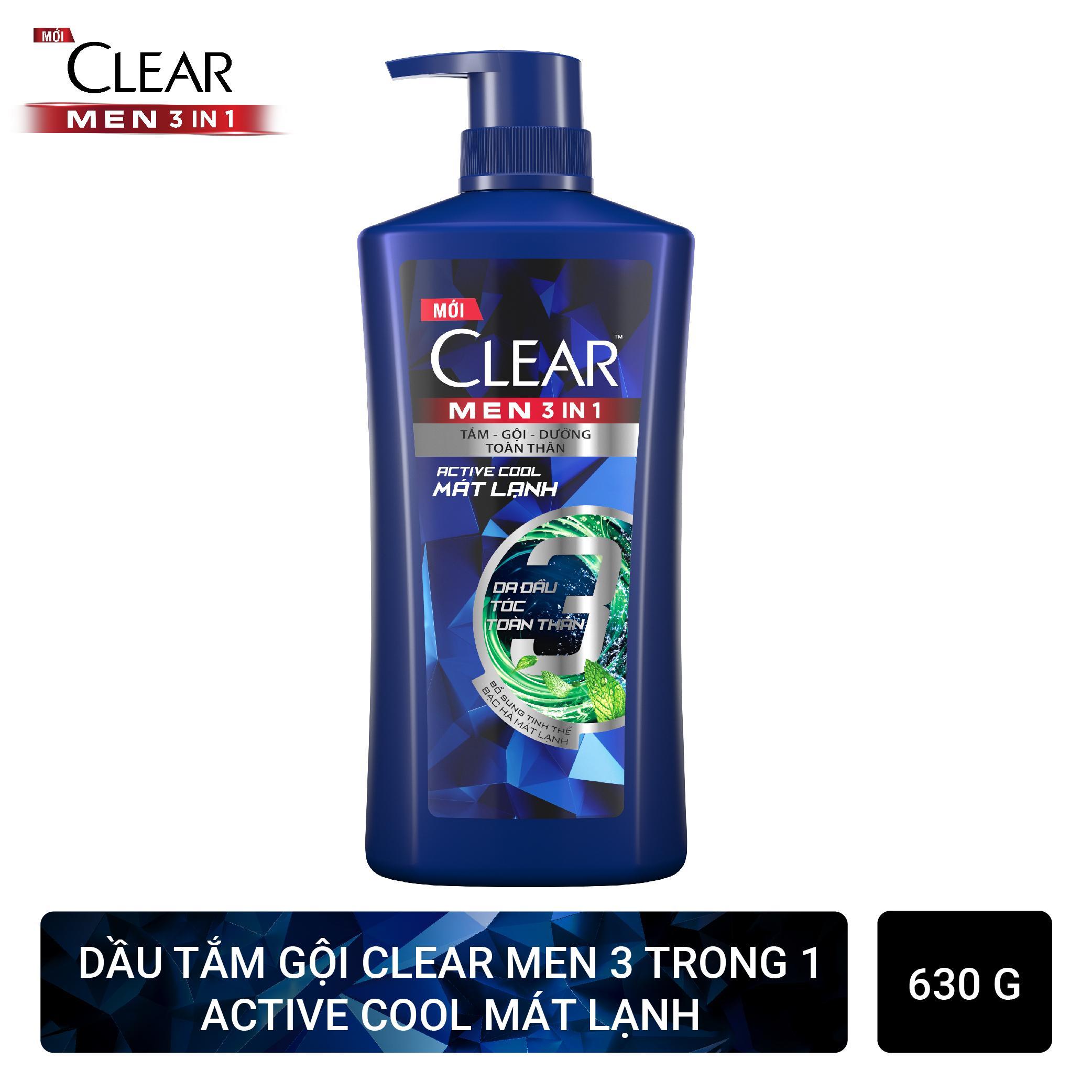 CLEAR dầu gội nam 3in1 mát lạnh 630g/chai