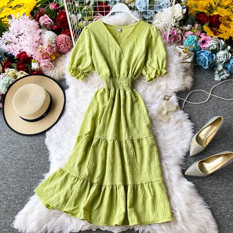 Màu Đỏ Cổ Chữ V Voan ĐẦM MÙA HÈ 2020 Mẫu Mới Kiểu Pháp Phong Cách Retro Khí Chất Tôn Dáng Giống Nàng Tiên Đầm Váy Dài Tay Ngắn