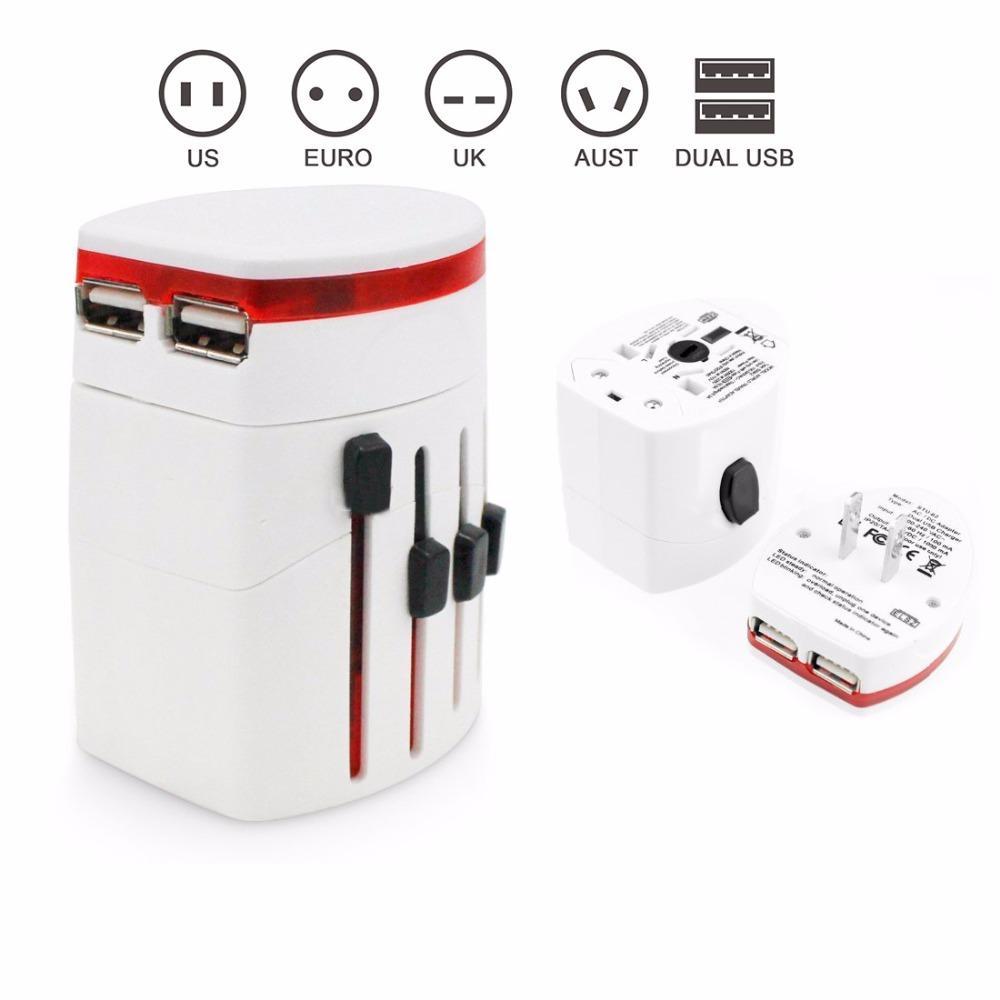 Ổ CẮM ĐIỆN ADV-002 ĐA NĂNG ,Tương thích hơn 150 quốc gia: US/AUS/UK/EU.... Tích hợp ổ cắm USB đơn giản , Kiểm soát cả 100V ~ 120V và 220V ~ 250V điện áp tiêu chuẩn