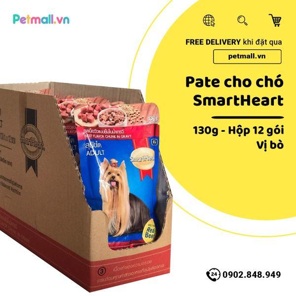 Pate SmartHeart Adult 130g - Hộp 12 gói - Vị Bò