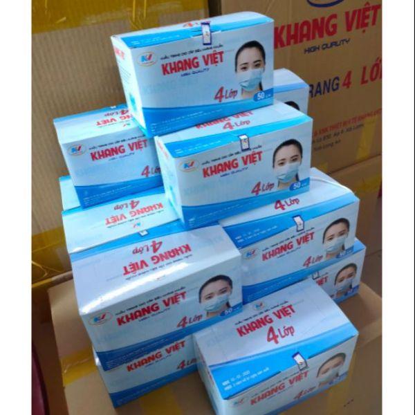Khẩu trang y tế 4 lớp hộp 50 cái kháng khuẩn kháng bụi mịn, bảo vệ sức khỏe trước