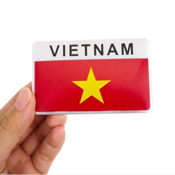 Miếng dán 3D bằng kim loại quốc kỳ Việt Nam