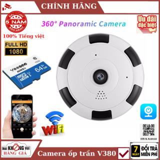 (Thẻ nhớ 64GB), Camera Wifi V380 HD 1080P không dây wifi góc rộng 360 cảm biến CMOS có tầm nhìn đêm cho gia đình , camera v380 , camera ốp trần , camera mini , camera wifi , camera giá rẻ thumbnail