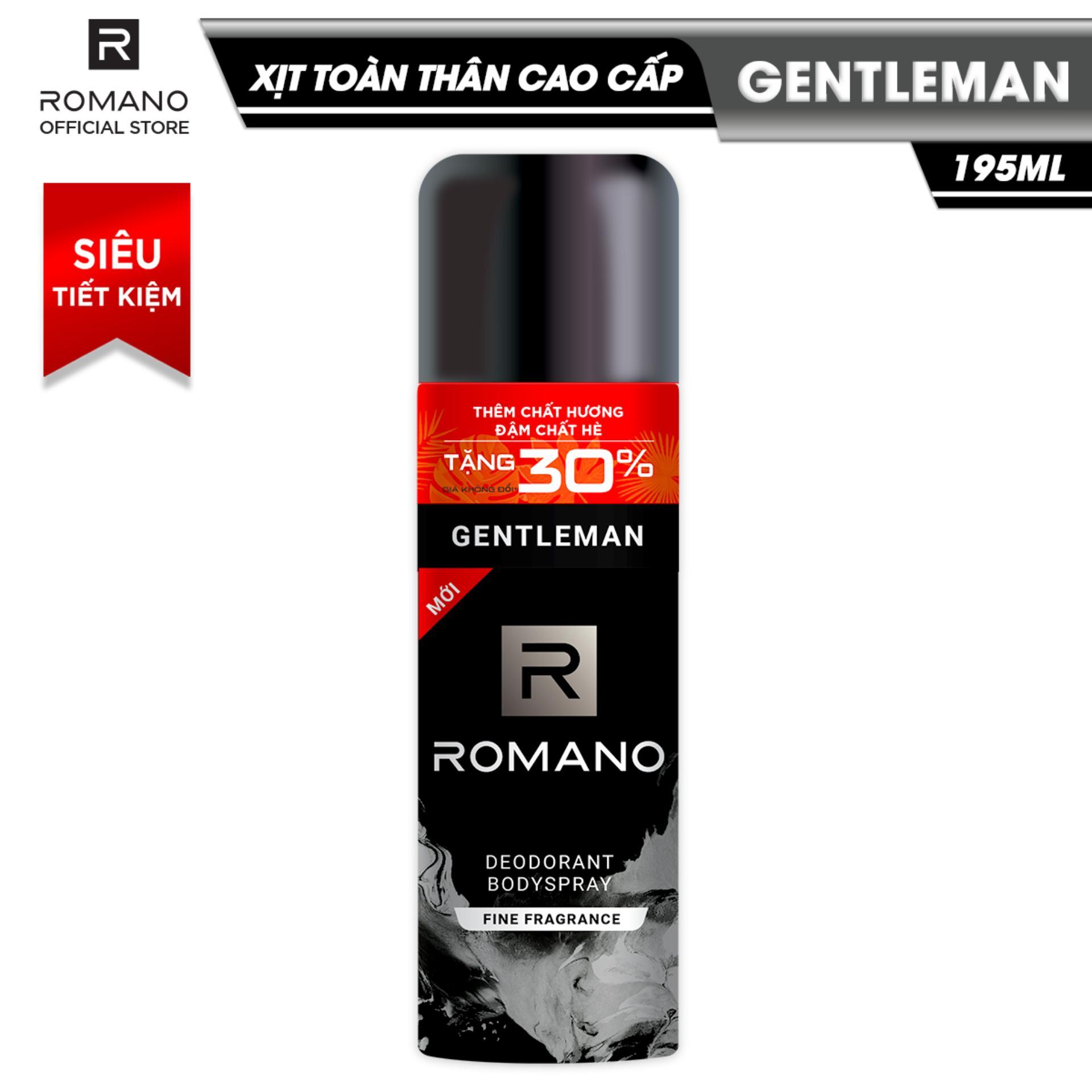 Xịt toàn thân cao cấp Romano Gentleman lịch lãm nam tính ngăn mồ hôi & mùi cơ thể 195ml (Tặng 30%) chính hãng