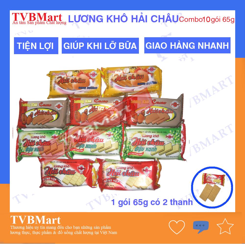 [HCM] Combo 10 bánh Lương khô Hải Châu, mix vị Cacao, Đậu xanh, Tổng hợp, Dinh dưỡng - 2 thanh nhỏ/bánh 65g, thơm ngon, tiện lợi, Date xa - TVBMart
