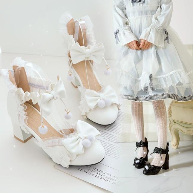 Nhật Bản ngọt ngào giày đơn của phụ nữ ren tóc bóng hồng gót dày gót chân dép nơ công chúa học sinh giày nữ giá rẻ