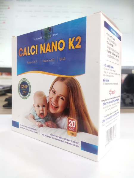 (Hộp 20 ống) Bổ sung canxi, vitamin D3 CALCI NANO K2 - Cho phụ nữ có thai và cho con bú nhập khẩu