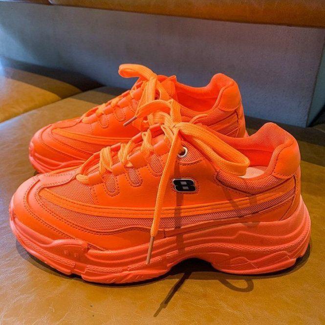 Mềm mại Thông Thường Dày Giày Sneaker Nền Tảng Mùa Hè Lưới Thoáng Khí nam Nữ đế Bằng Vàng Giày Thể Thao Nữ Màu Cam 2020 Bán giỏi nhấtghhjj giá rẻ