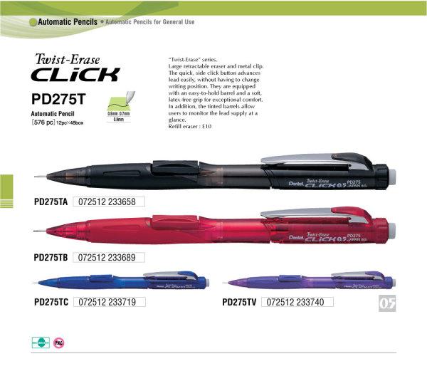 Bút chì kim Twist-Erase Click Pentel 0.5/0.7/0.9mm PD275T/PD277T/PD279T