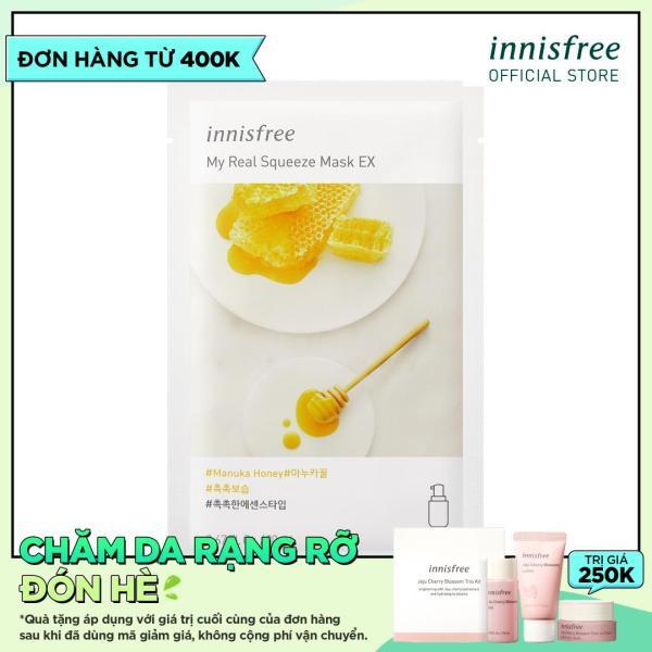 Mặt nạ giấy dưỡng ẩm & phục hồi da từ mật ong Innisfree My Real Squeeze Mask - ManuKa Honey 20ml