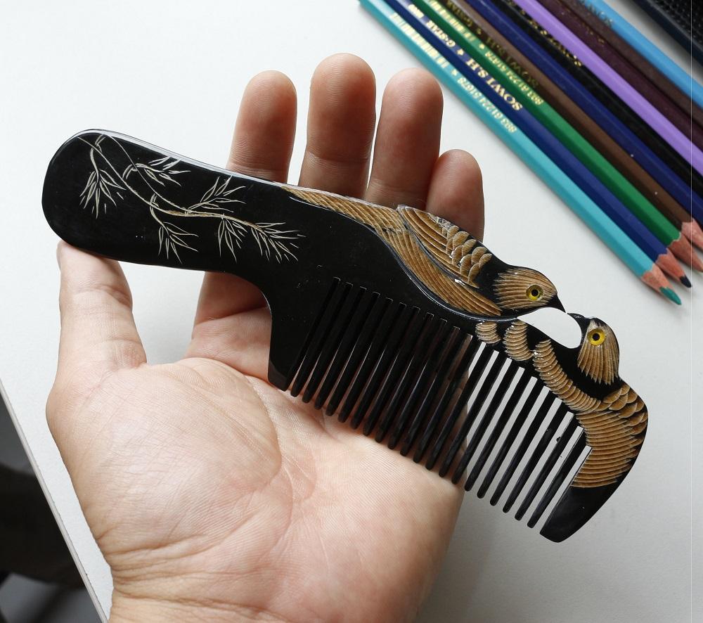 [Siêu mượt tóc] Lược chải tóc sừng trâu tốt cho sức khỏe L01 nhập khẩu