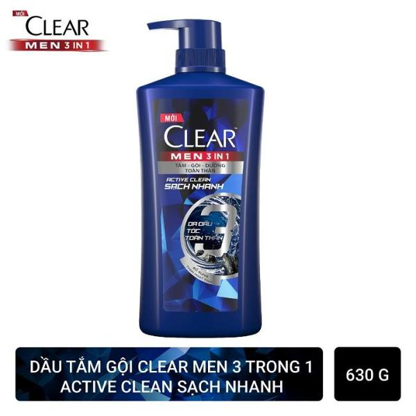 Dầu tắm gội CLEAR Men 3 trong 1 - ACTIVE CLEAN SẠCH SÂU - 630g