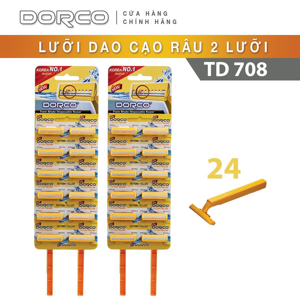 Bộ 02 Set Dao cạo râu 2 lưỡi DORCO TD 708 Vỉ 12 dao cạo
