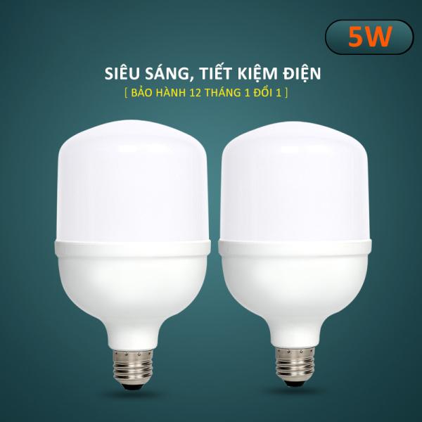 Combo 2 Bóng đèn Led hình trụ búp tiết kiệm điện, đuôi vít xoắn ốc E27 công suất 5W-10W-15W-20W-30W-40W-50W, ánh sáng trắng, tuổi thọ cao, không nhấp nháy, không tia UV, nhà trọ, gia đình, văn phòng-DBT