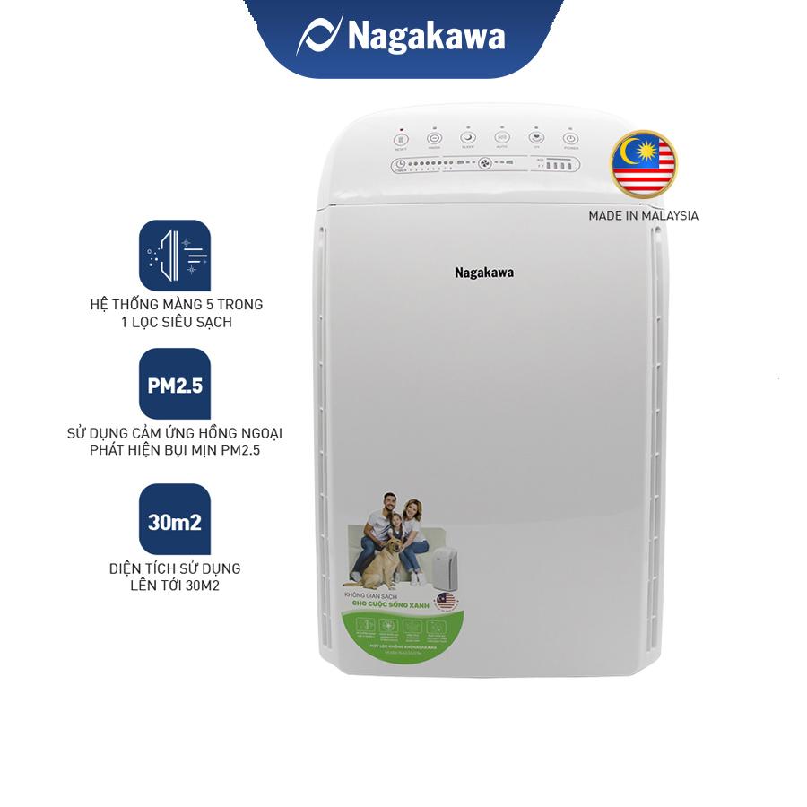 Mua 1 được 2 máy lọc không khí 5 trong 1 nagakawa nag3501m tặng nồi cơm  điện tách đường 1.8l - công nghệ lọc hepa, khử mùi, diệt khuẩn và tạo ion