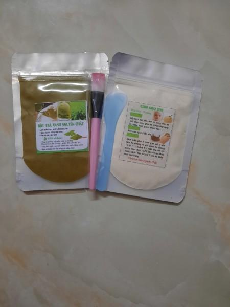 Combo 2 gói bột trà xanh bột cám gạo sữa đắp mặt & tắm trắng cao cấp