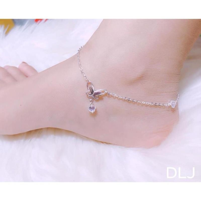 Lắc chân nữ bạc ta - lắc bướm xinh xắn, mẫu mã đẹp-JQN gian hàng chính hãng cam kết Bạc chuẩn, Chất lượng không lo đen xỉn