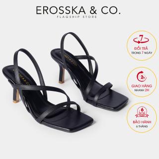 Giày sandal cao gót quai mảnh Erosska thời trang mũi vuông quai ngang phối dây tinh tế cao 7cm EB022 (NU) thumbnail