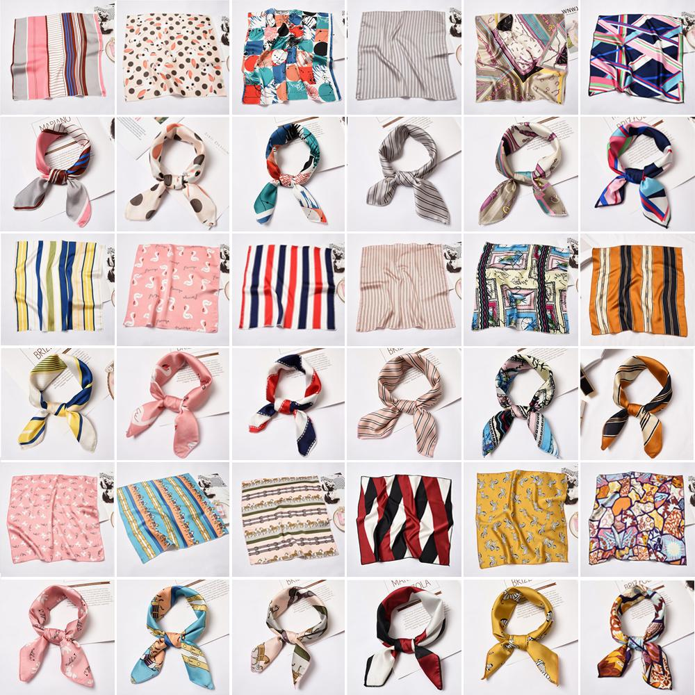 Giá bán 1* Summer Elegant Gifts Small Vintage Head Neck Silk Feel Satin Square Scarf Hair Tie Band