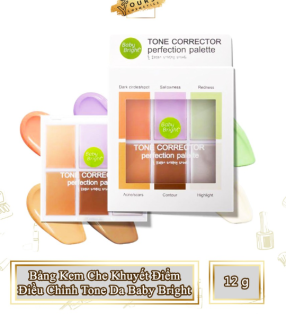 [Lấy mã giảm thêm 30%] Bảng Kem Che Khuyết Điểm Điều Chỉnh Tone Da Baby Bright Tone Corrector Perfection Palette thumbnail