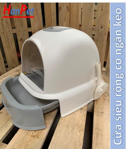 HN- Nhà vệ sinh cho mèo có khay cát dạng ngăn kéo cửa siêu rộng (KT 49x36 cao 39cm) (Màu ngẫu nhiên) nha ve sinh meo / khay đựng cát