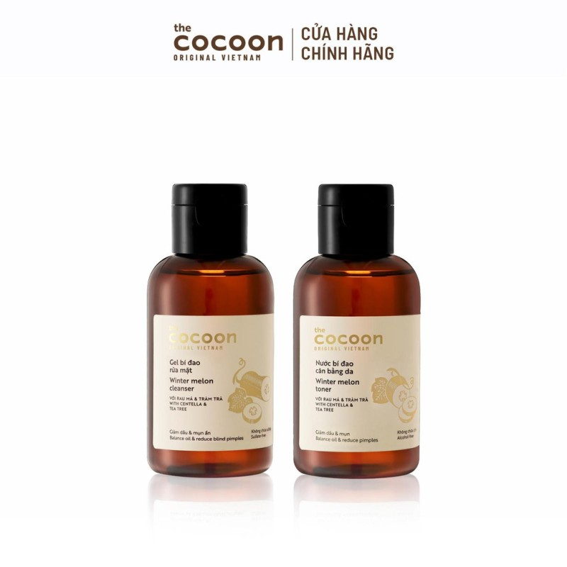 Combo Gel bí đao rửa mặt 140ml và Nước bí đao cân bằng da Cocoon 140ml giá rẻ