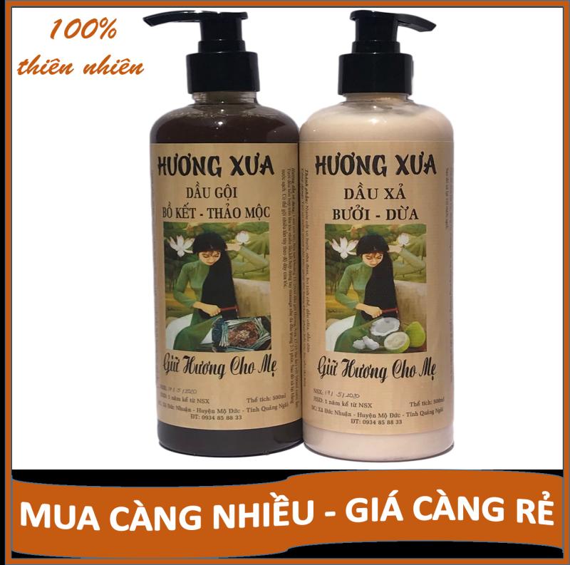 [COMBO TIẾT KIỆM] Dầu gội Bồ kết Dầu xả Bưởi dừa Hương Xưa hết gàu, hết ngứa, chăm sóc tóc chuyên sâu nhập khẩu