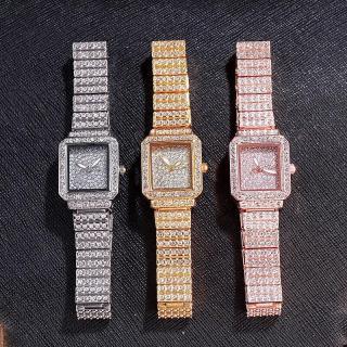 Đồng hồ thời trang nữ DZG mặt chữ nhật đính đá cao cấp thumbnail