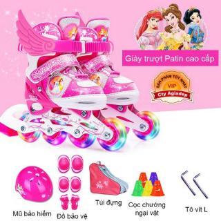 Bộ Giày trượt Patin trẻ em hàng hiệu Disney Princess - Full Mũ + Bộ bảo vệ + Túi + Quà - Giày Patanh có Ánh sáng xuất Châu Âu Siêu xịn thumbnail