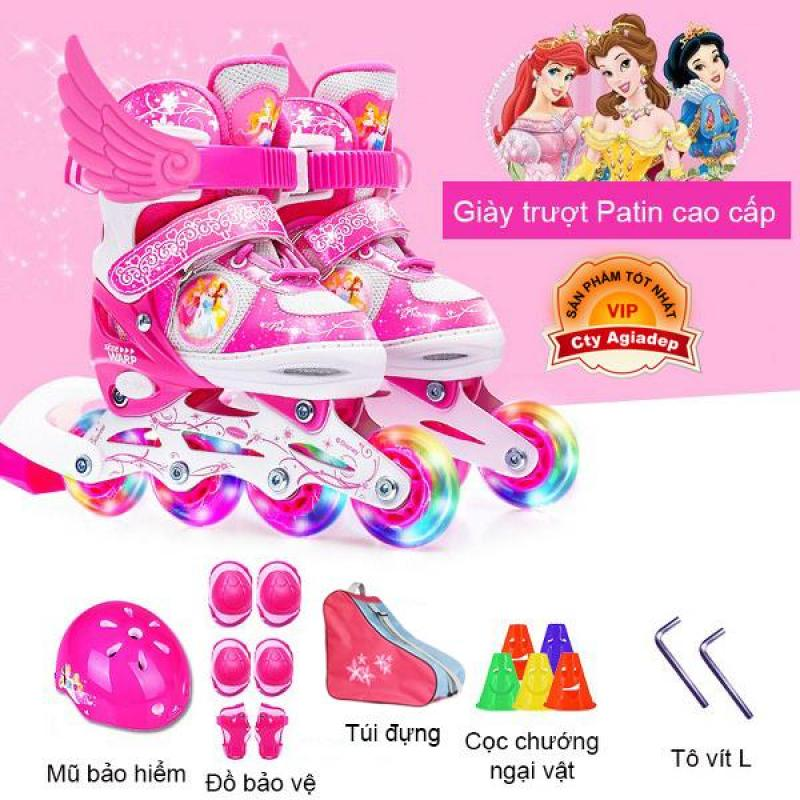 Phân phối Bộ Giày trượt Patin trẻ em hàng hiệu Disney Princess - Full Mũ + Bộ bảo vệ + Túi + Quà - Giày Patanh có Ánh sáng xuất Châu Âu Siêu xịn