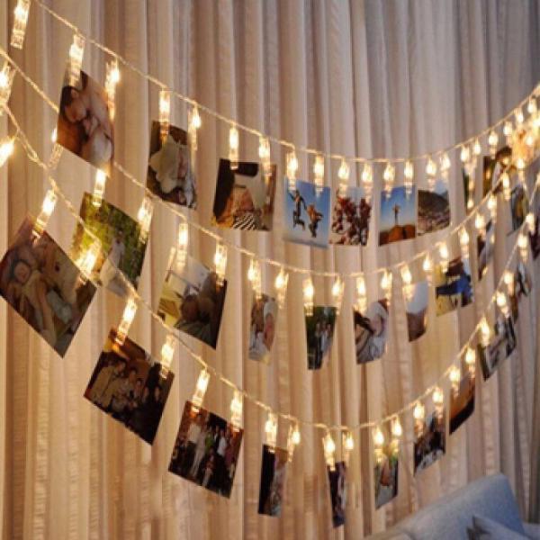Tặng pin-dây đèn kẹp ảnh nghệ thuật dài 3 mét 20 kẹp đính đèn led ánh sáng vàng