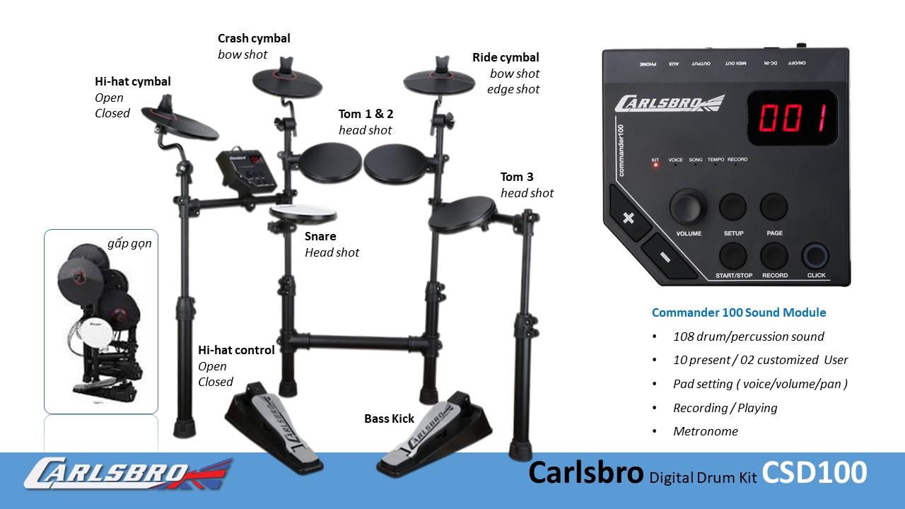 Bộ trống điện tử Carlsbro Digital Drum Set CSD100