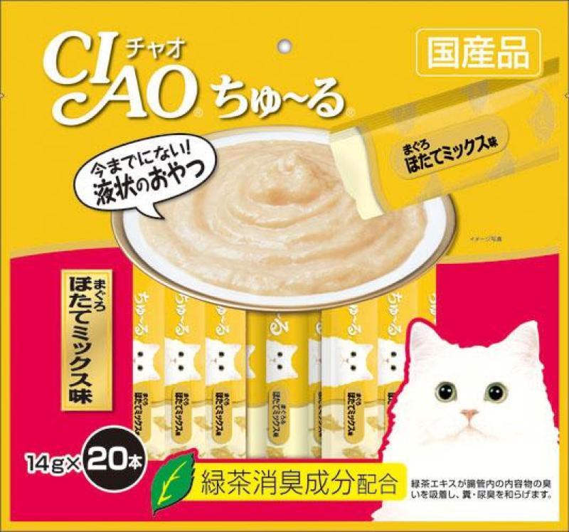 Thức ăn cho mèo CIAO CHURU Thịt cá ngừ sò điệp (20 thanh) - SC-129