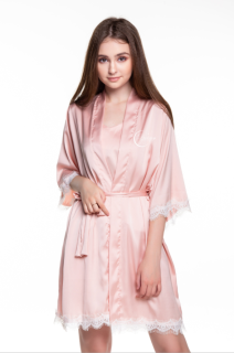 Dreamy CL03 - Áo choàng ngủ lụa cao cấp phối viền ren quyến rũ, mềm mại mài hồng pastel thumbnail