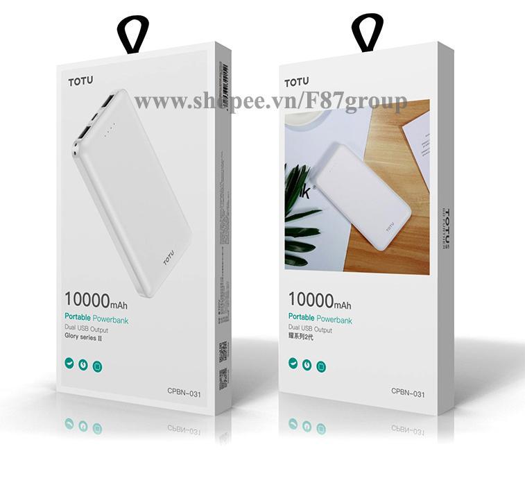 Pin Sạc dự phòng 10.000mAh siêu mỏng hãng TOTU Design 2 cổng sạc USB