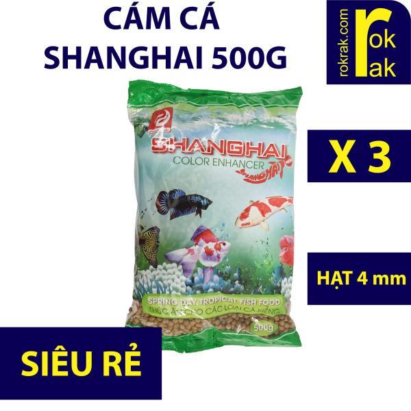 Combo 3 gói cám cá Shanghai 500g hạt vừa thức ăn cho cá Koi cá kiểng lên màu Cung cấp đầy đủ chất dinh dưỡng