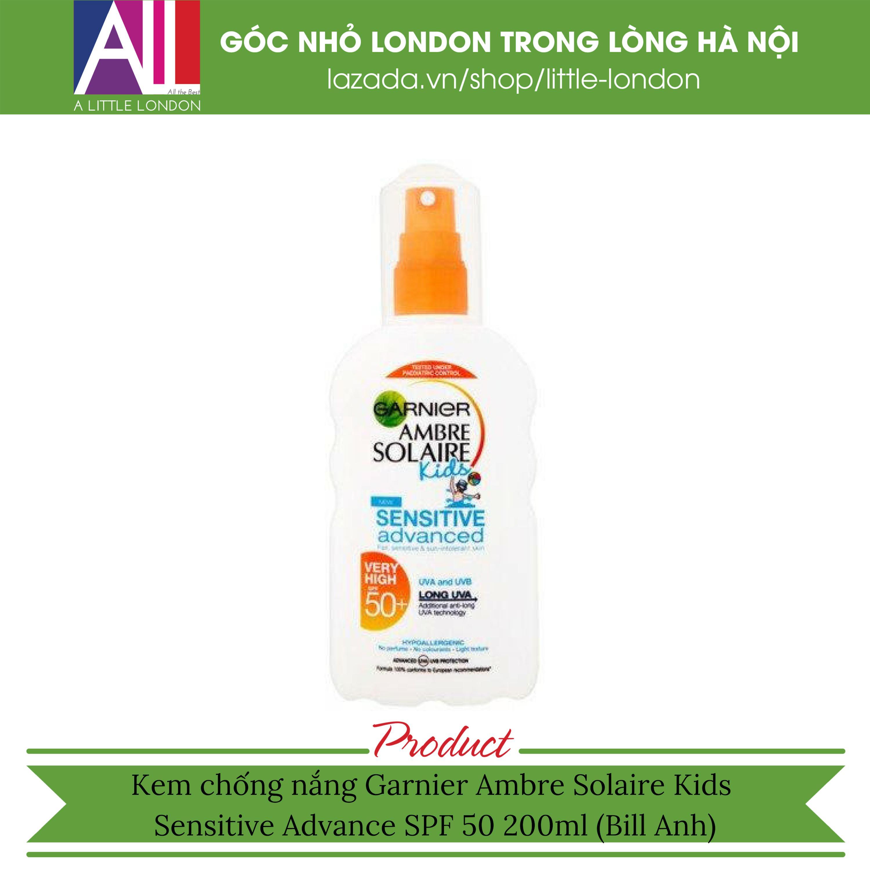 Kem chống nắng Garnier Ambre Solaire Kids Sensitive Advance SPF 50 200ml (Bill Anh) tốt nhất