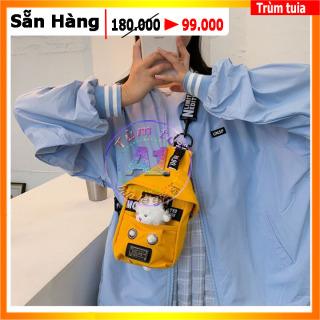 [ TÚI BAO TỬ ] túi đeo chéo vải cancar kaki bố - túi bao từ nam nữ kèm gầu thú cừu - túi đựng điện thoại cao cấp loại 1 thumbnail