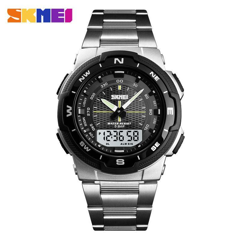 Đồng hồ nam SKMEI 1370 kim điện tử dây thép không gỉ cao cấp bán chạy