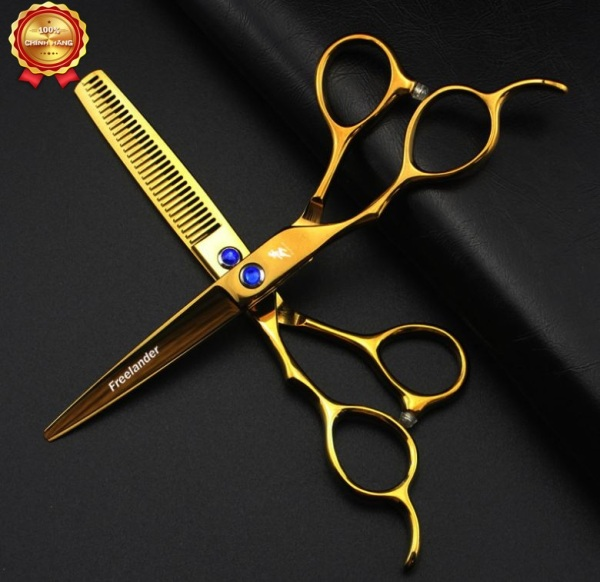 bộ kéo cắt tóc tay trái Freelander vàng (Tặng bao da và chỉnh kéo khi mua 2 cây ) cao cấp