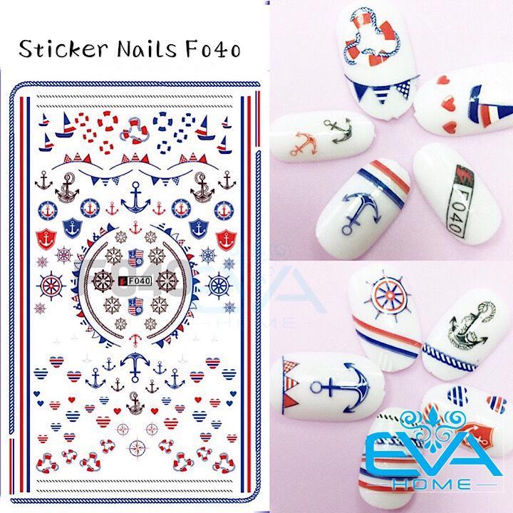Miếng Dán Móng Tay 3D Nail Sticker Tráng Trí Hoạ Tiết Thuyền Phao Mỏ Neo Mô Phỏng Đại Dương F040 tốt nhất