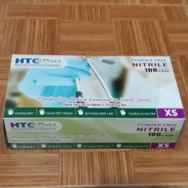 Găng Tay Cao Su Y Tế Không Bôt  HTC Glove hộp 100 cái màu xanh
