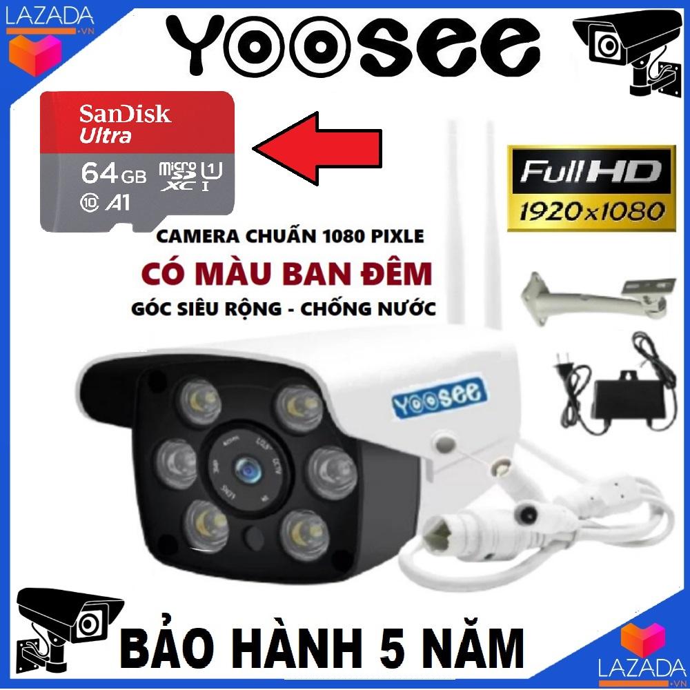 (Kèm Thẻ nhớ Chuẩn 64 GB,chân đế lắp đặt,Bảo Hành 24 tháng)Camera Wifi KHÔNG DÂY Trong nhà-ngoài trời Yoosee ZQ26-2.4Mpx- FULL HD 1920 x 1080p - hỗ trợ 2 đèn hồng ngoại và 4 đèn LED xem đêm có Màu Cực Nét,ghi âm, lưu trữ video