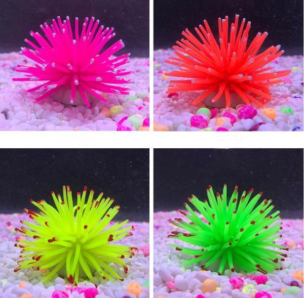 Phụ kiện trang trí bể cá, hồ cá: mẫu nhím biển nhiều màu